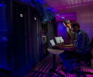 Man working on a computer server